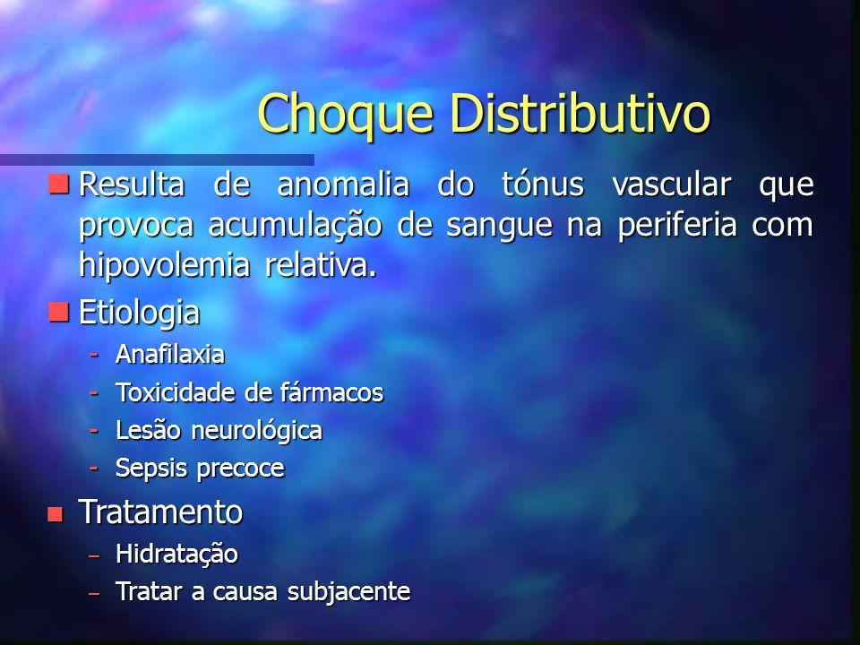 Choque Distributivo Resulta de anomalia do tónus vascular que provoca acumulação de sangue na periferia com hipovolemia relativa.