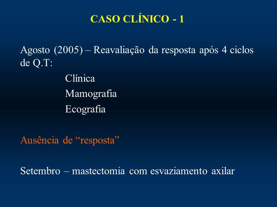 CASO CLÍNICO - 1Agosto (2005) – Reavaliação da resposta após 4 ciclos de Q.T: Clínica. Mamografia. Ecografia.