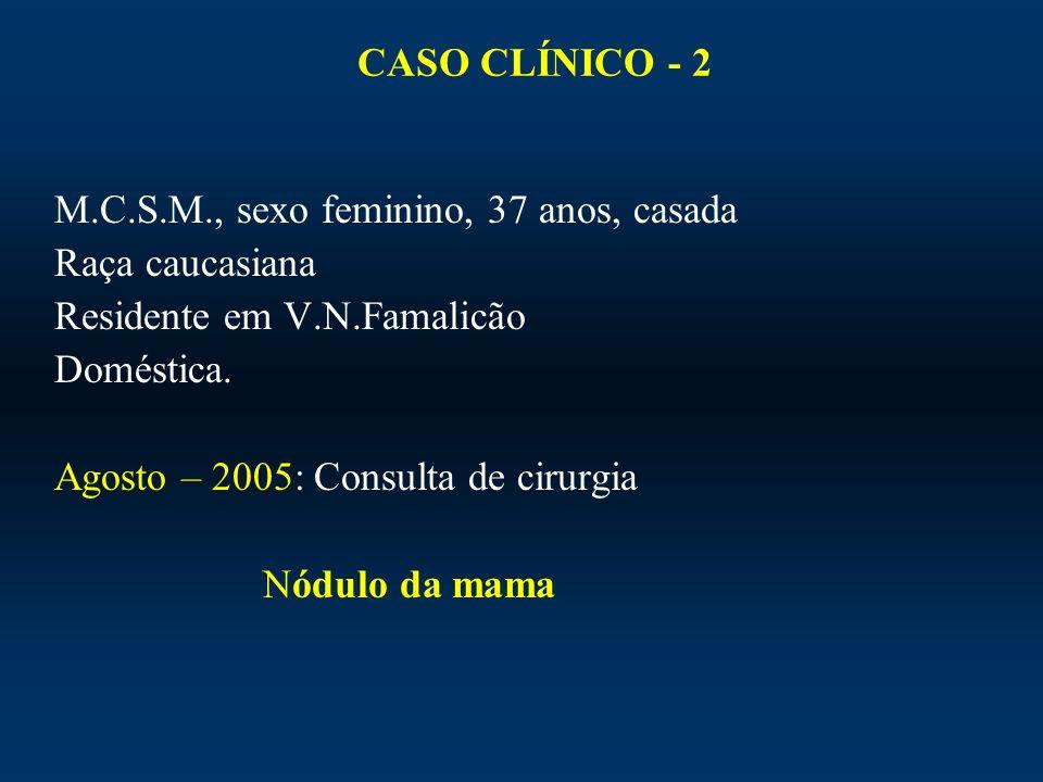 CASO CLÍNICO - 2M.C.S.M., sexo feminino, 37 anos, casada. Raça caucasiana. Residente em V.N.Famalicão.