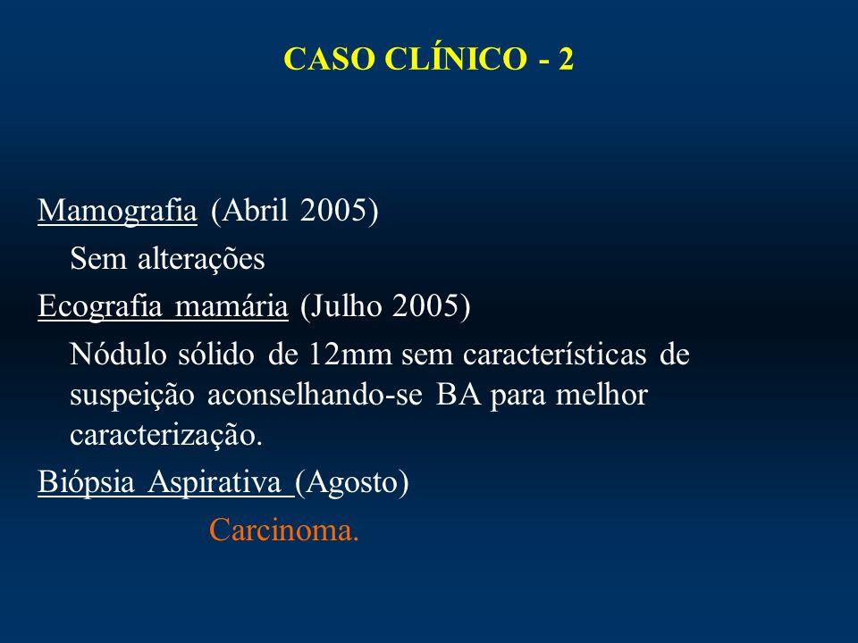 CASO CLÍNICO - 2Mamografia (Abril 2005) Sem alterações. Ecografia mamária (Julho 2005)