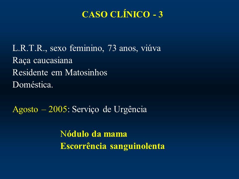 CASO CLÍNICO - 3 L.R.T.R., sexo feminino, 73 anos, viúva. Raça caucasiana. Residente em Matosinhos.