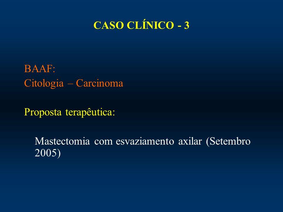 CASO CLÍNICO - 3 BAAF: Citologia – Carcinoma.