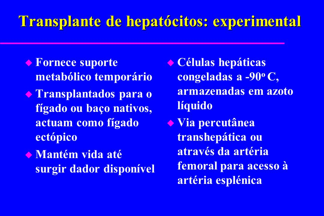 Transplante de hepatócitos: experimental