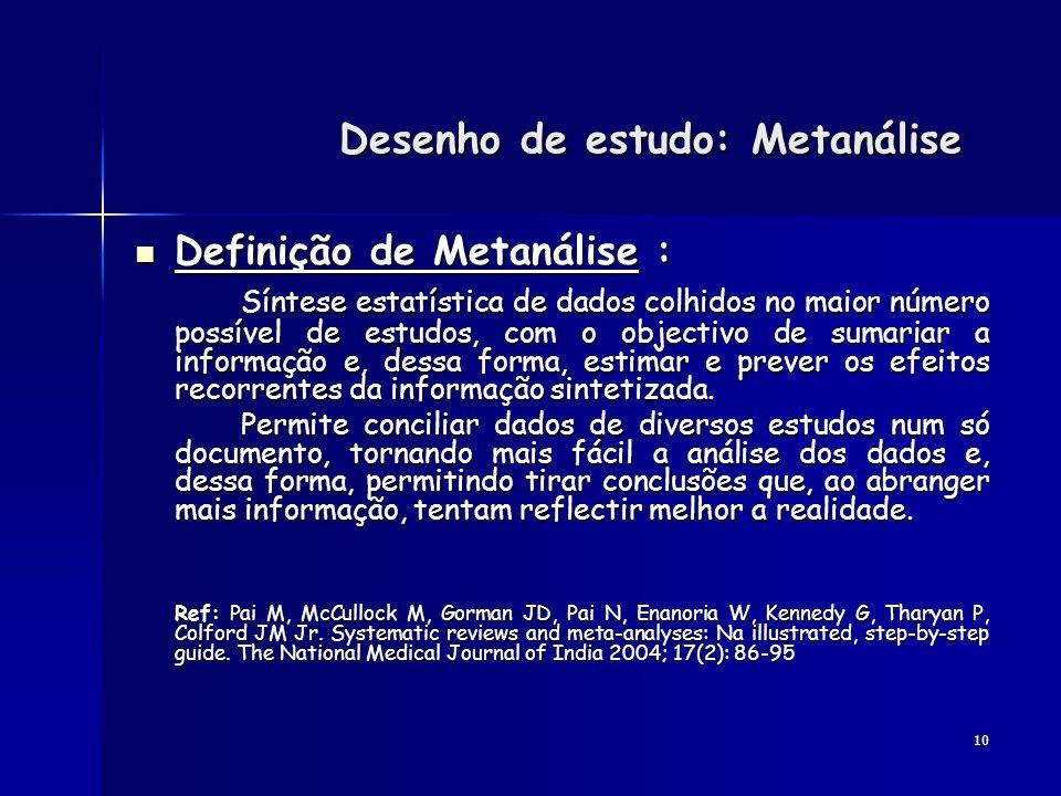 Desenho de estudo: Metanálise