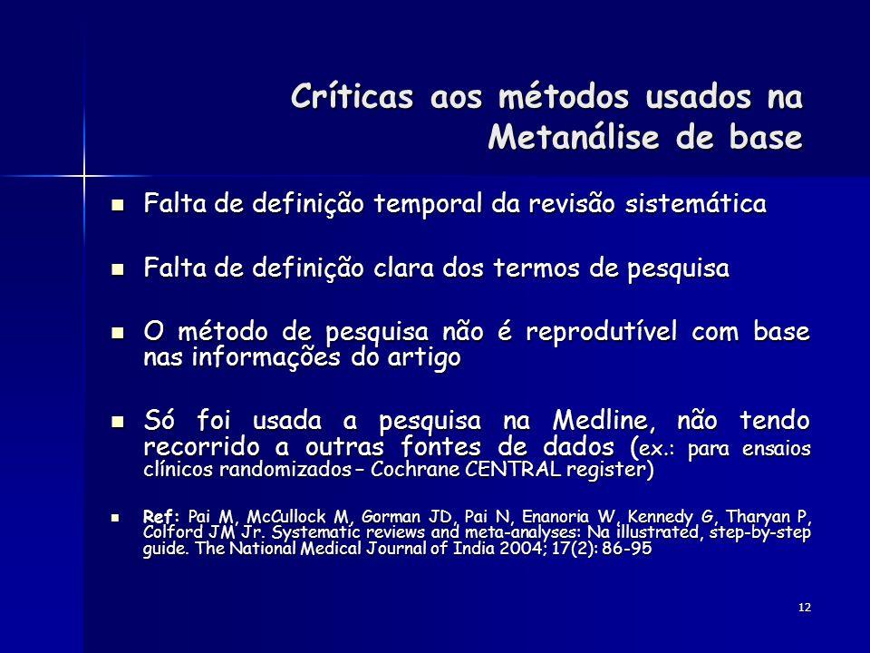 Críticas aos métodos usados na Metanálise de base