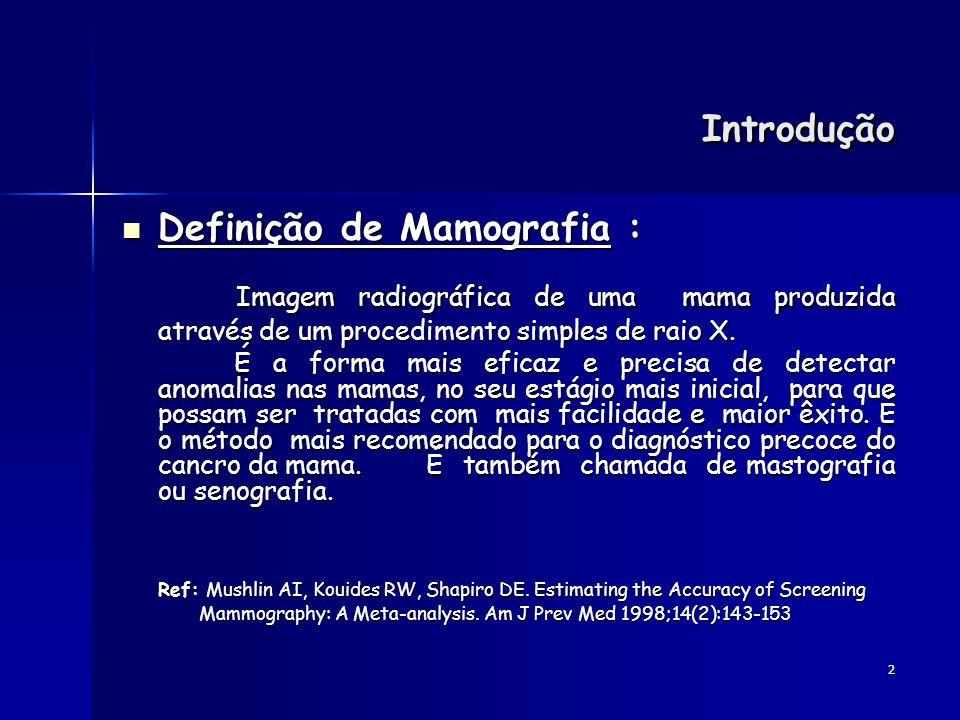 Introdução Definição de Mamografia : Imagem radiográfica de uma mama produzida através de um procedimento simples de raio X.
