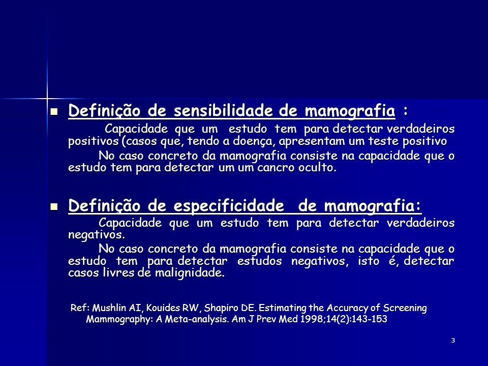 Definição de sensibilidade de mamografia :