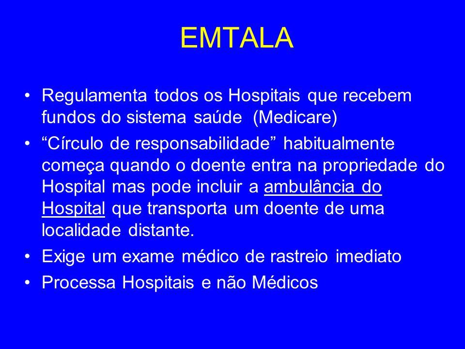 EMTALA Regulamenta todos os Hospitais que recebem fundos do sistema saúde (Medicare)