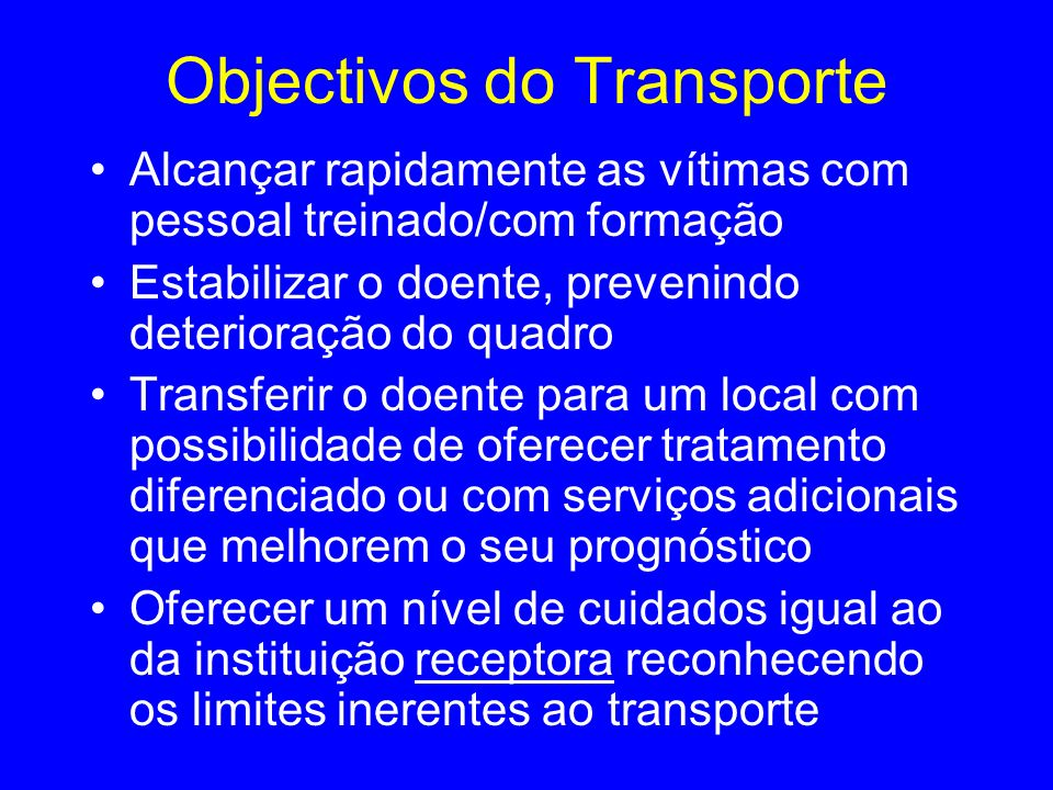 Objectivos do Transporte