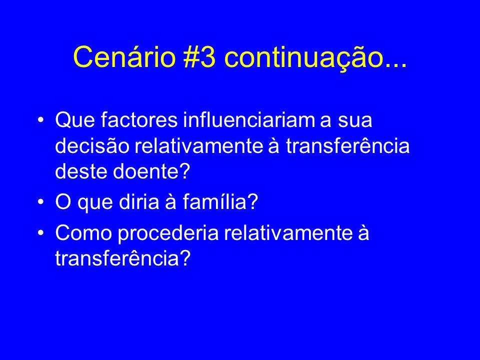 Cenário #3 continuação... Que factores influenciariam a sua decisão relativamente à transferência deste doente