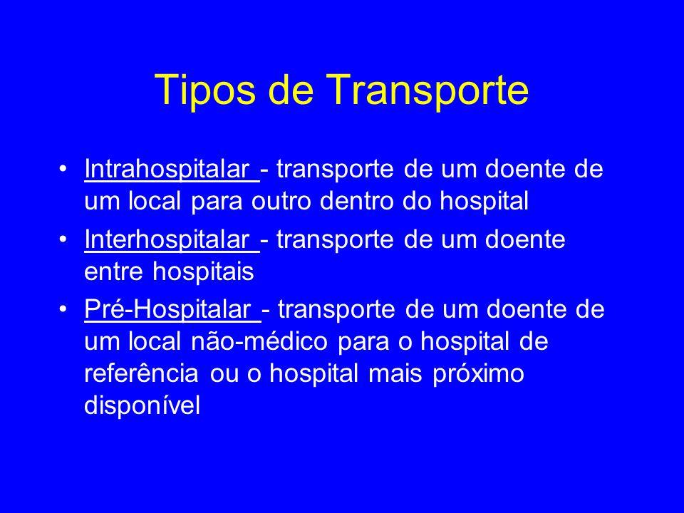 Tipos de TransporteIntrahospitalar - transporte de um doente de um local para outro dentro do hospital.
