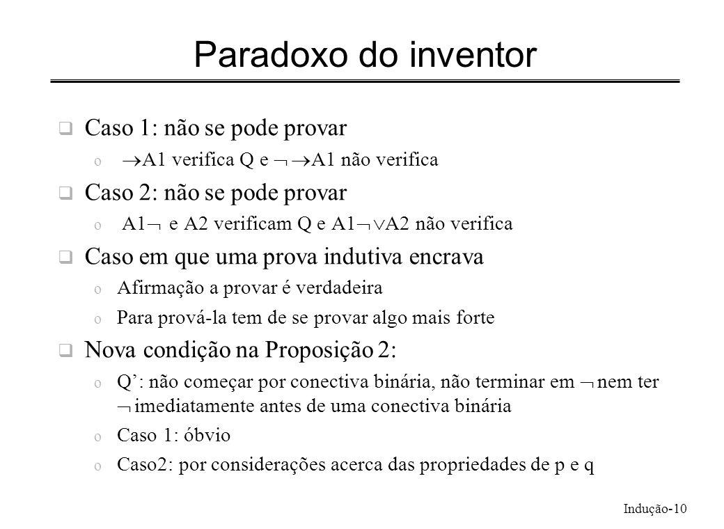 Paradoxo do inventor Caso 1: não se pode provar