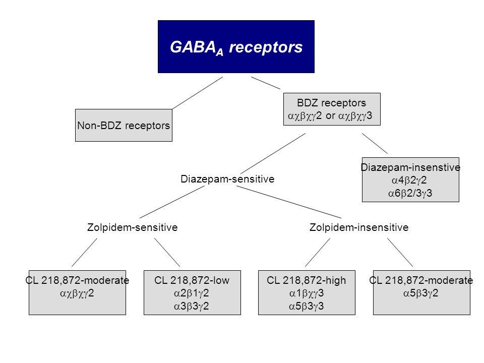 GABAA receptors BDZ receptors 2 or 3 Non-BDZ receptors