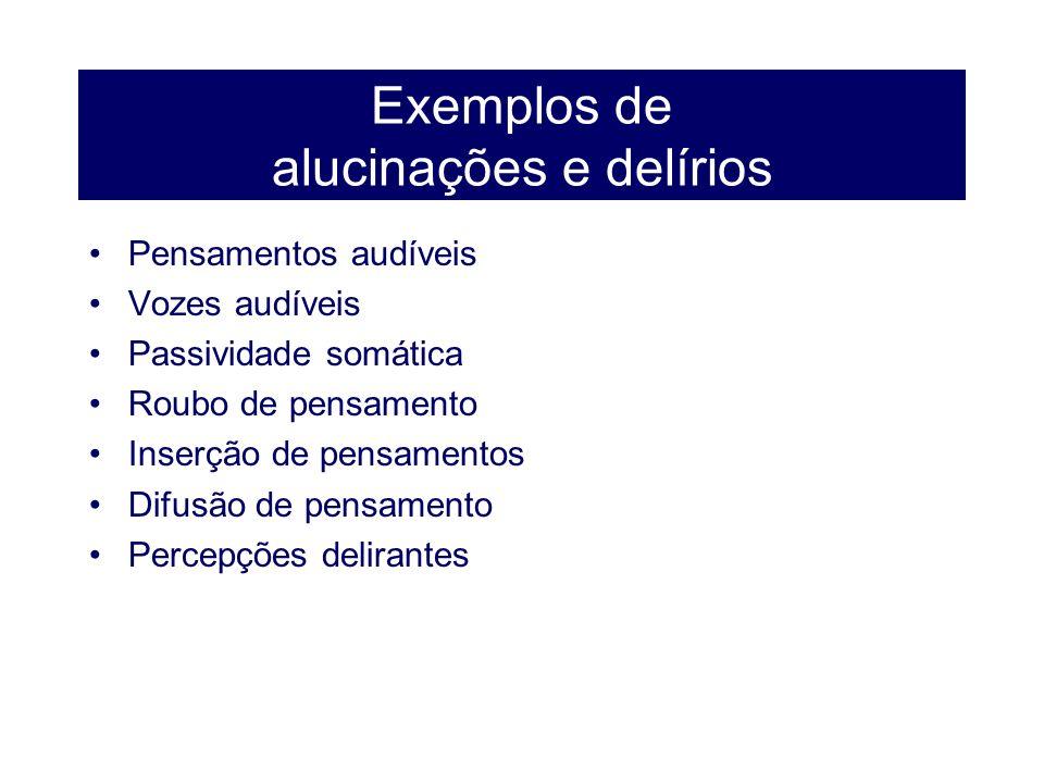 Exemplos de alucinações e delírios