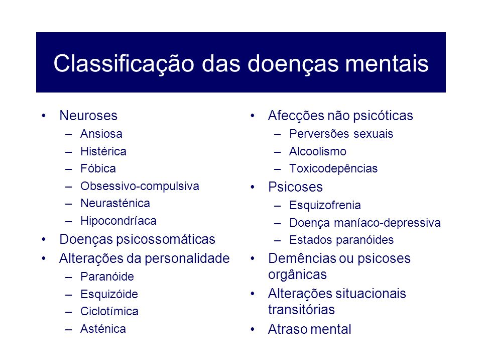 Classificação das doenças mentais