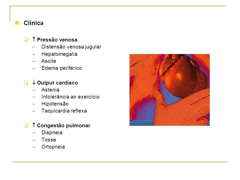Clínica  Pressão venosa Distensão venosa jugular Hepatomegalia Ascite