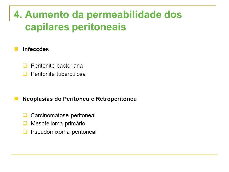 4. Aumento da permeabilidade dos capilares peritoneais