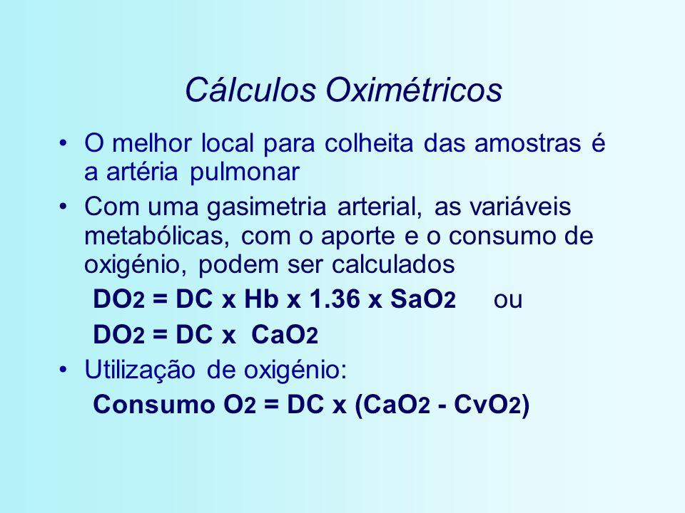 Cálculos Oximétricos O melhor local para colheita das amostras é a artéria pulmonar.