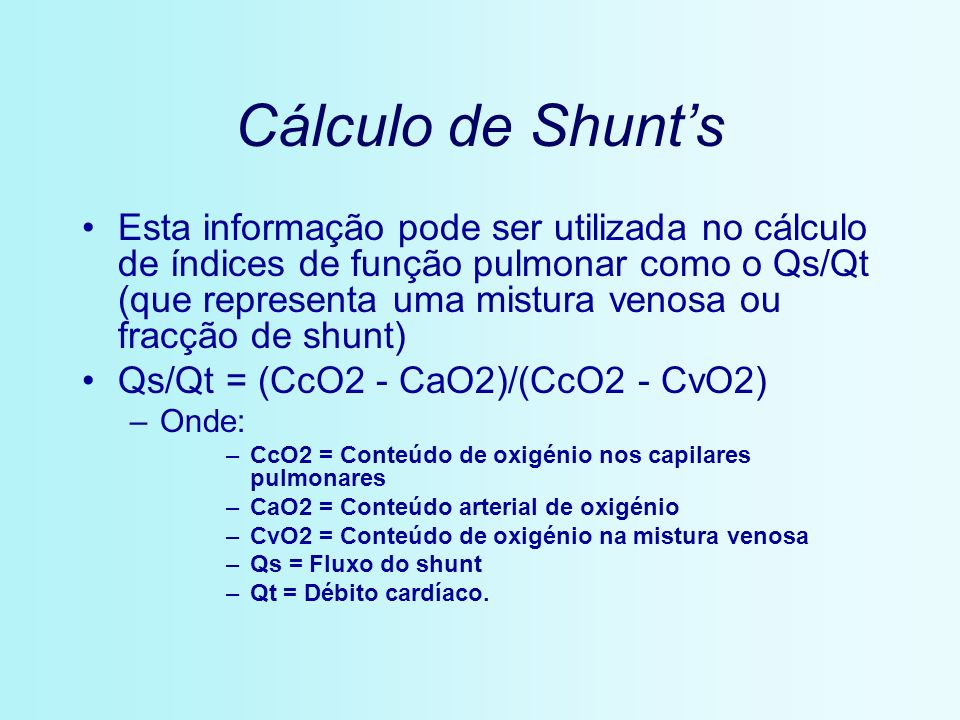 Cálculo de Shunt's