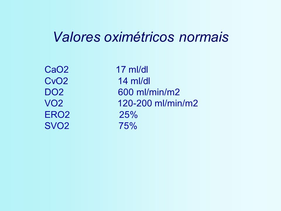 Valores oximétricos normais