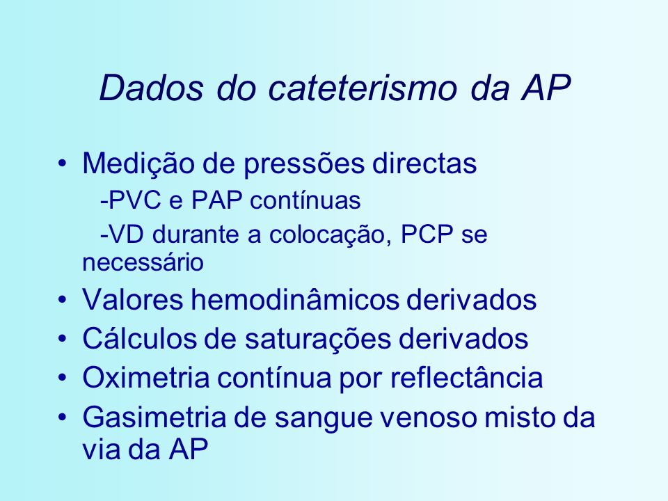 Dados do cateterismo da AP