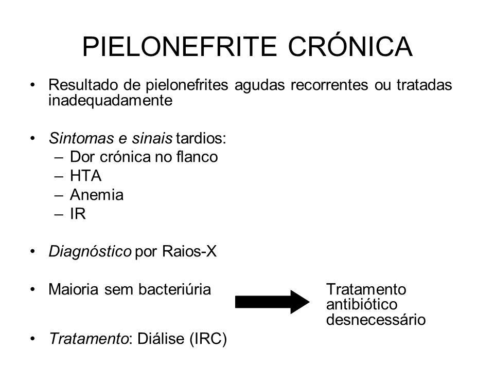 PIELONEFRITE CRÓNICA Resultado de pielonefrites agudas recorrentes ou tratadas inadequadamente. Sintomas e sinais tardios: