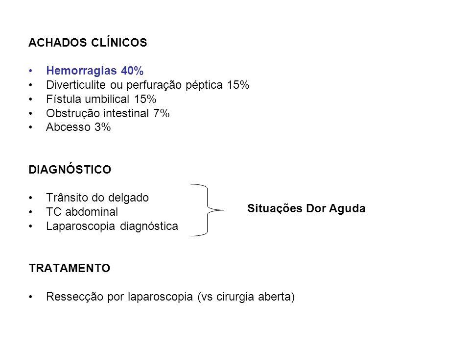 ACHADOS CLÍNICOS Hemorragias 40% Diverticulite ou perfuração péptica 15% Fístula umbilical 15% Obstrução intestinal 7%