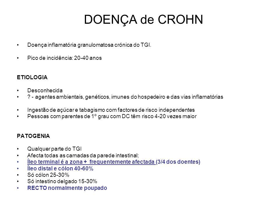 DOENÇA de CROHN Doença inflamatória granulomatosa crónica do TGI.