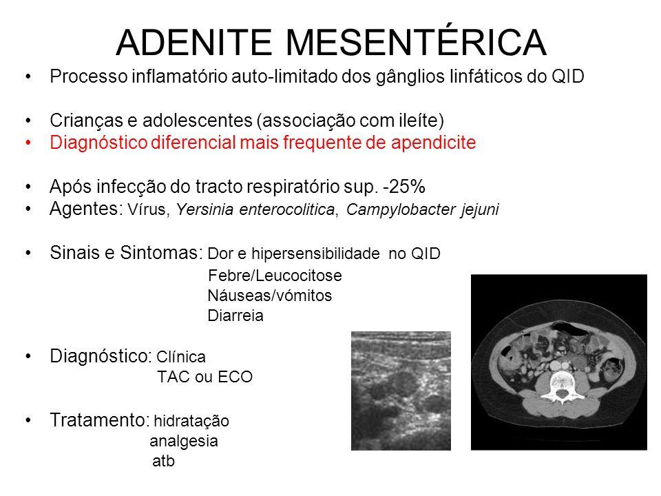 ADENITE MESENTÉRICA Processo inflamatório auto-limitado dos gânglios linfáticos do QID. Crianças e adolescentes (associação com ileíte)