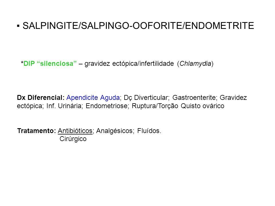 ▪ SALPINGITE/SALPINGO-OOFORITE/ENDOMETRITE