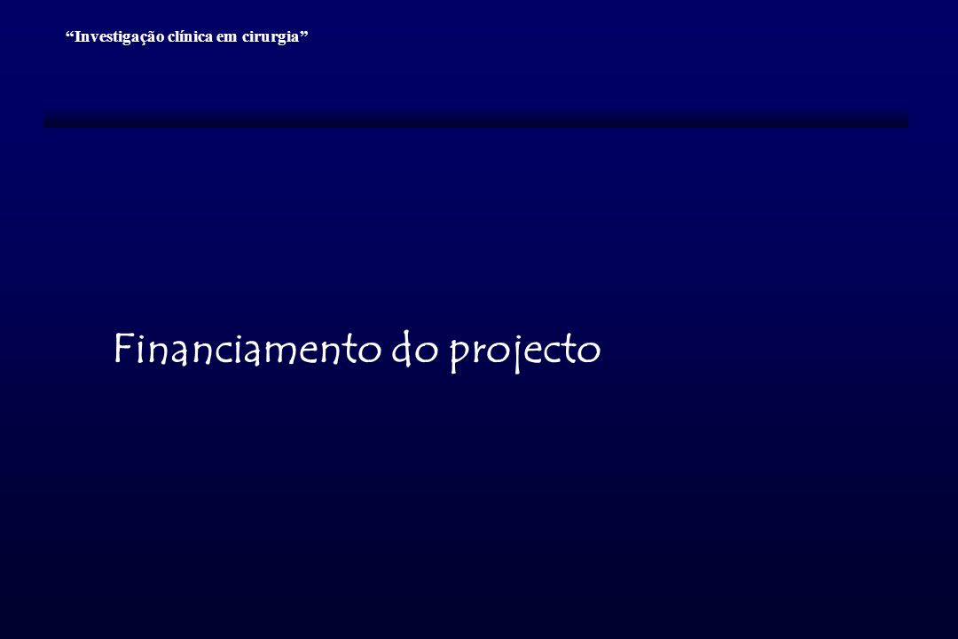 Financiamento do projecto