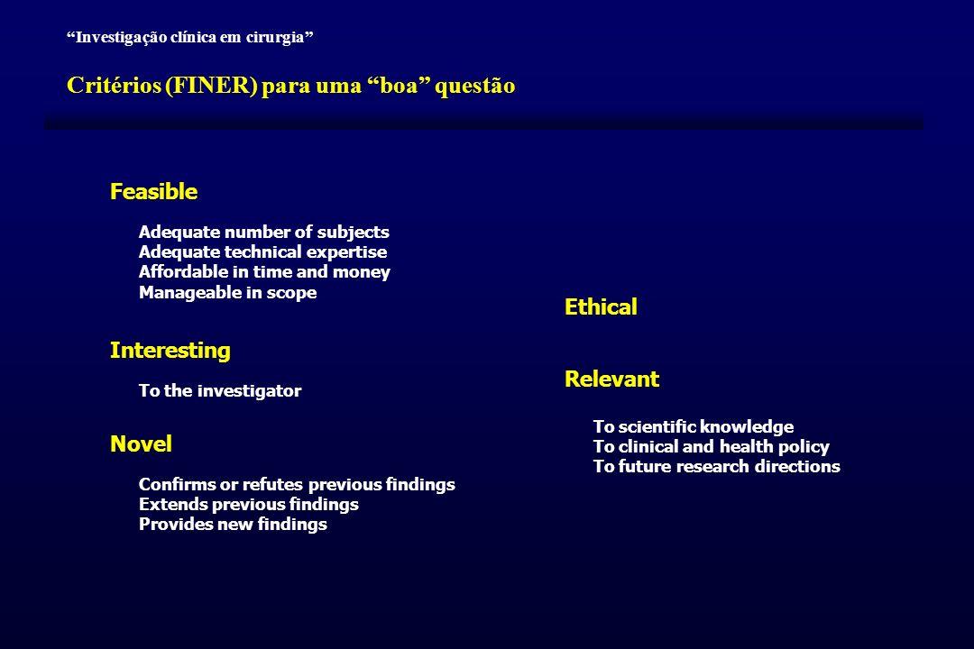 Critérios (FINER) para uma boa questão