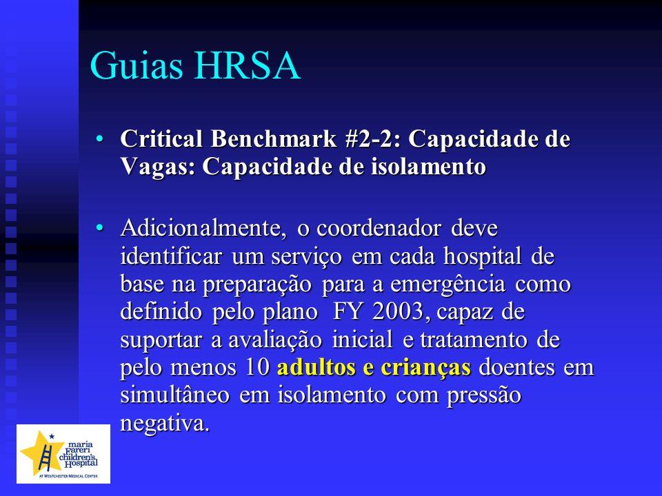 Guias HRSA Critical Benchmark #2-2: Capacidade de Vagas: Capacidade de isolamento.