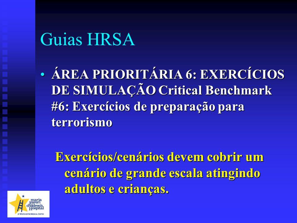 Guias HRSA ÁREA PRIORITÁRIA 6: EXERCÍCIOS DE SIMULAÇÃO Critical Benchmark #6: Exercícios de preparação para terrorismo.