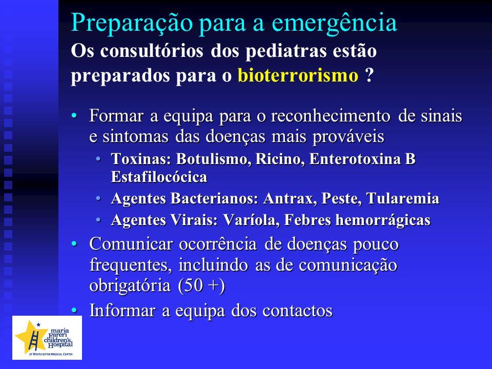 Preparação para a emergência Os consultórios dos pediatras estão preparados para o bioterrorismo