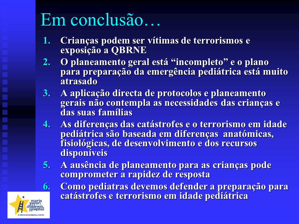 Em conclusão… Crianças podem ser vítimas de terrorismos e exposição a QBRNE.
