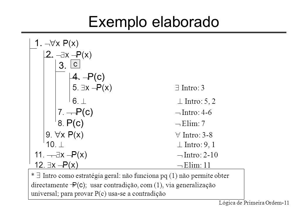 Exemplo elaborado 1. Ø x P(x) 2. Ø$x ØP(x) 3. 4. ØP(c)