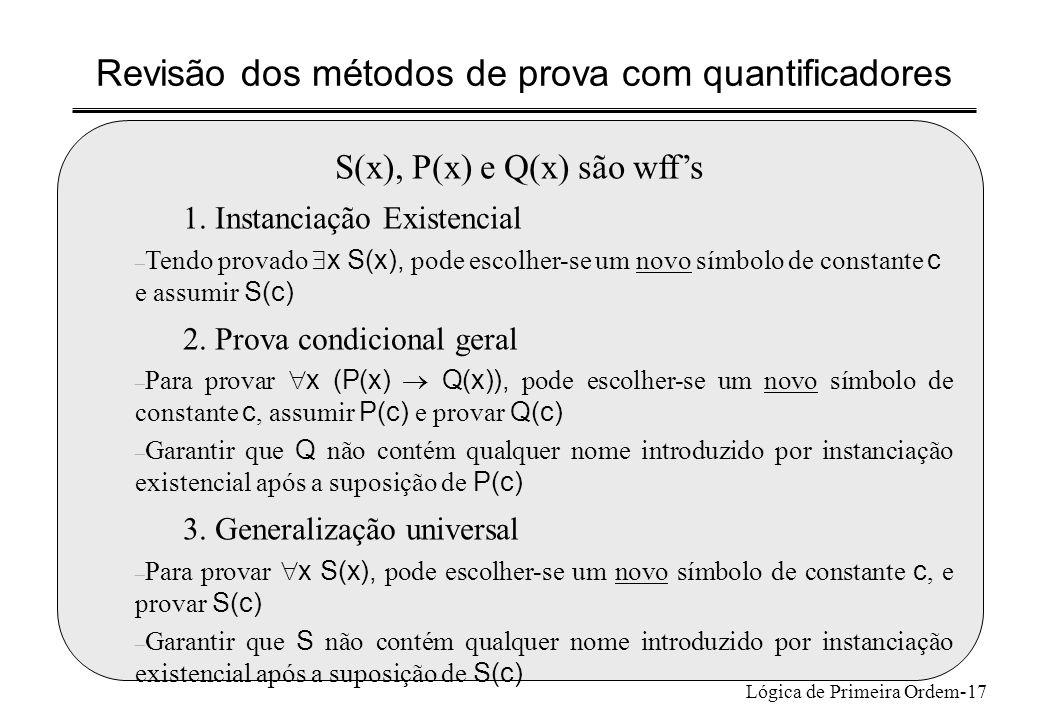 Revisão dos métodos de prova com quantificadores