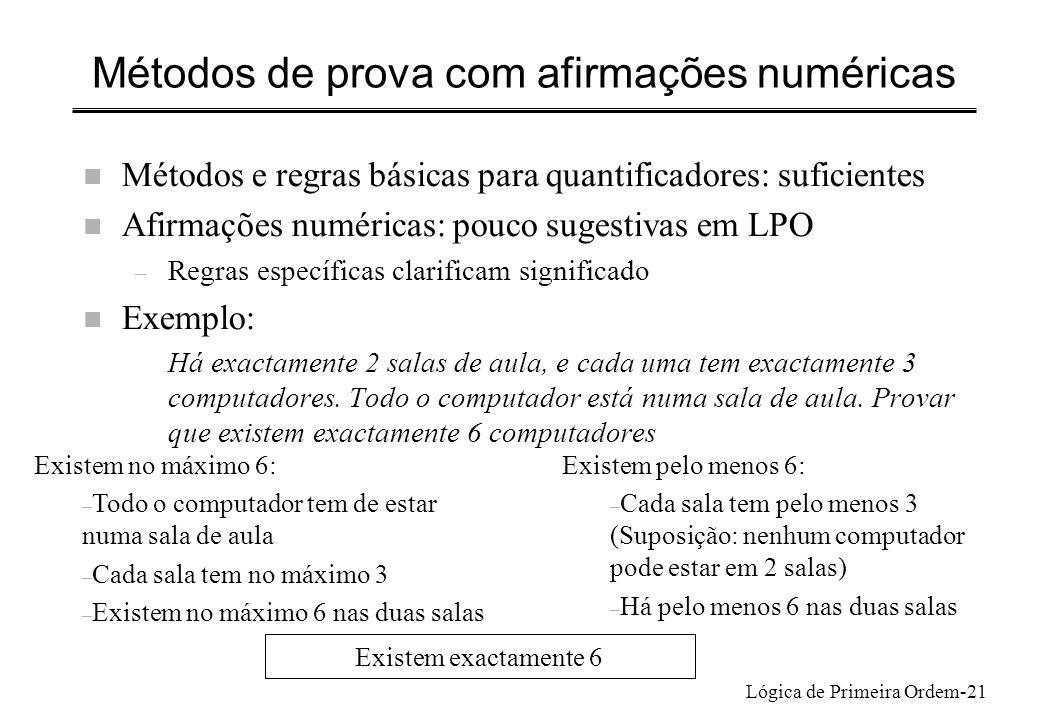 Métodos de prova com afirmações numéricas