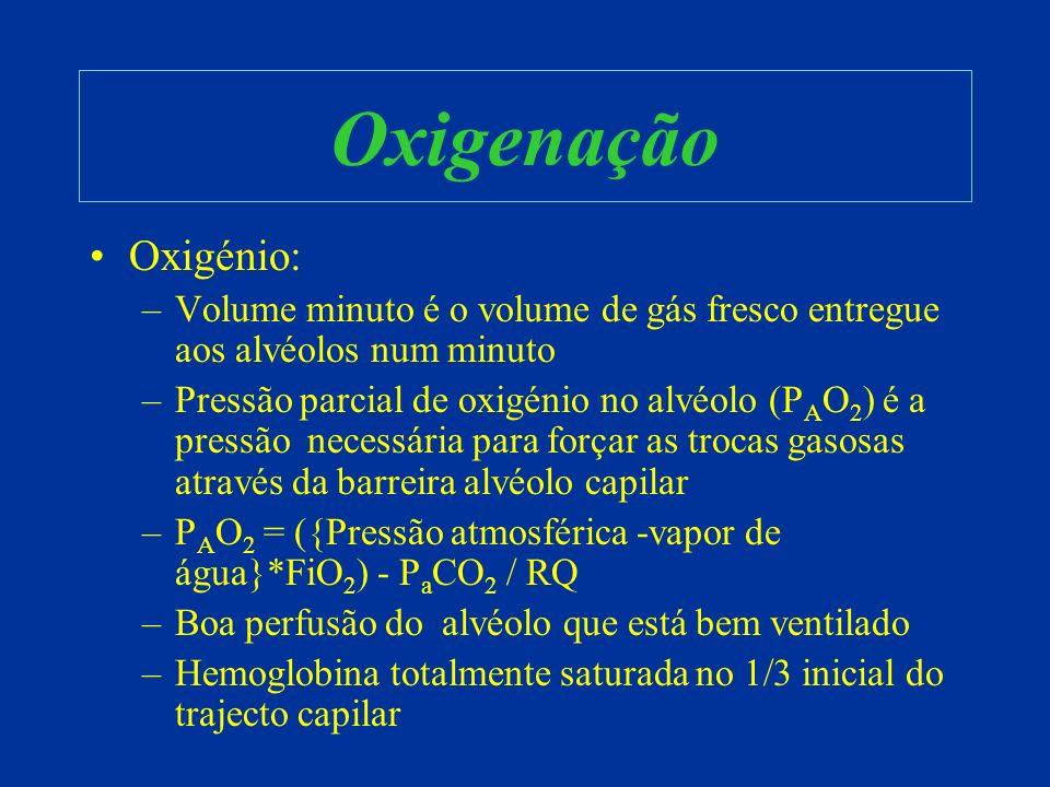 Oxigenação Oxigénio: Volume minuto é o volume de gás fresco entregue aos alvéolos num minuto.