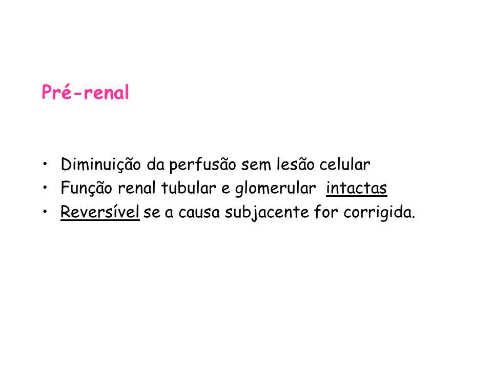 Pré-renal Diminuição da perfusão sem lesão celular