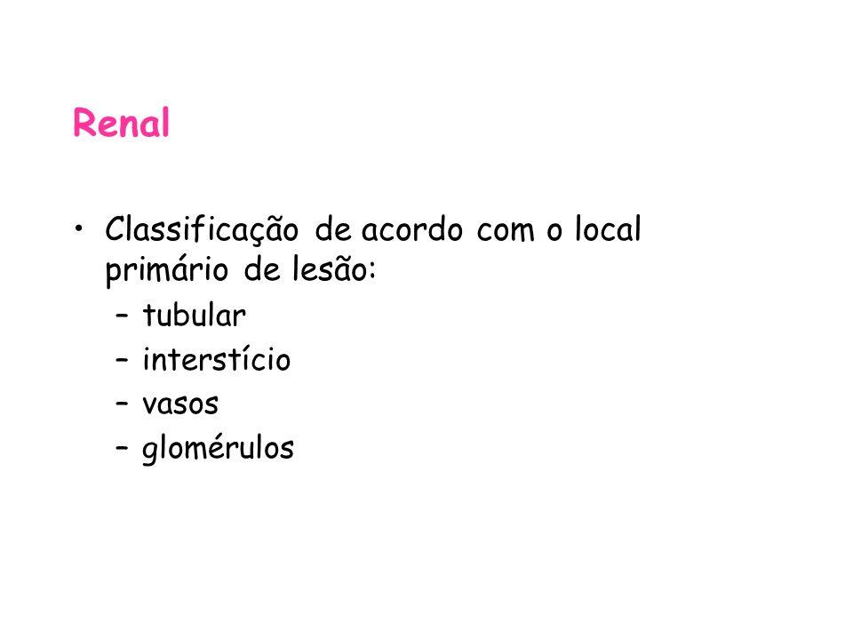 Renal Classificação de acordo com o local primário de lesão: tubular