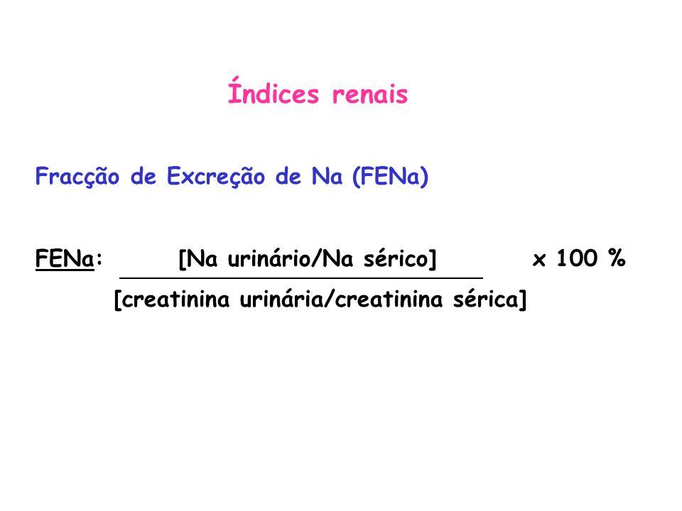 Índices renais Fracção de Excreção de Na (FENa)