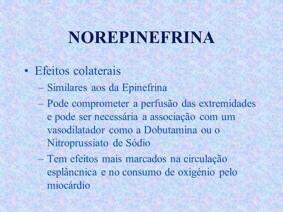NOREPINEFRINA Efeitos colaterais Similares aos da Epinefrina