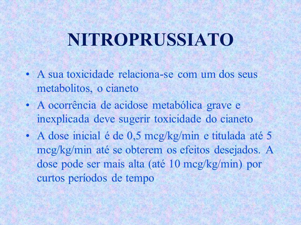 NITROPRUSSIATO A sua toxicidade relaciona-se com um dos seus metabolitos, o cianeto.