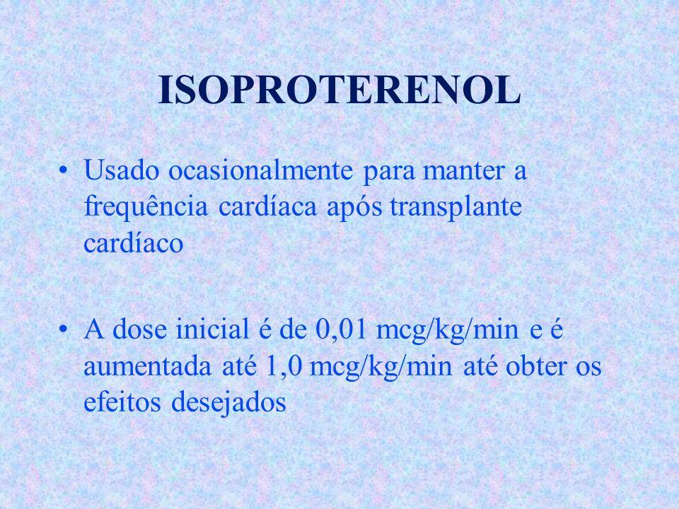ISOPROTERENOL Usado ocasionalmente para manter a frequência cardíaca após transplante cardíaco.