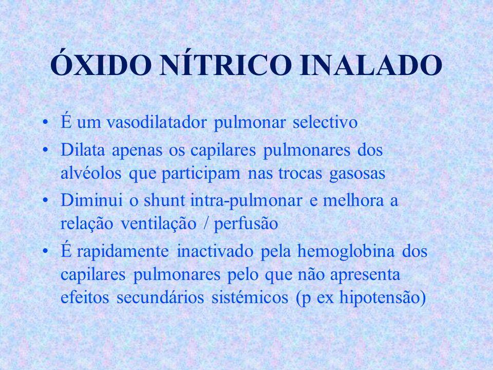ÓXIDO NÍTRICO INALADO É um vasodilatador pulmonar selectivo