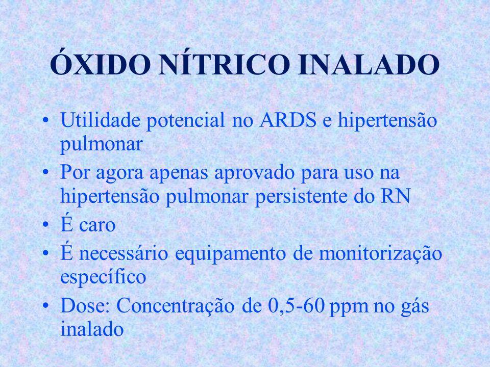 ÓXIDO NÍTRICO INALADO Utilidade potencial no ARDS e hipertensão pulmonar.