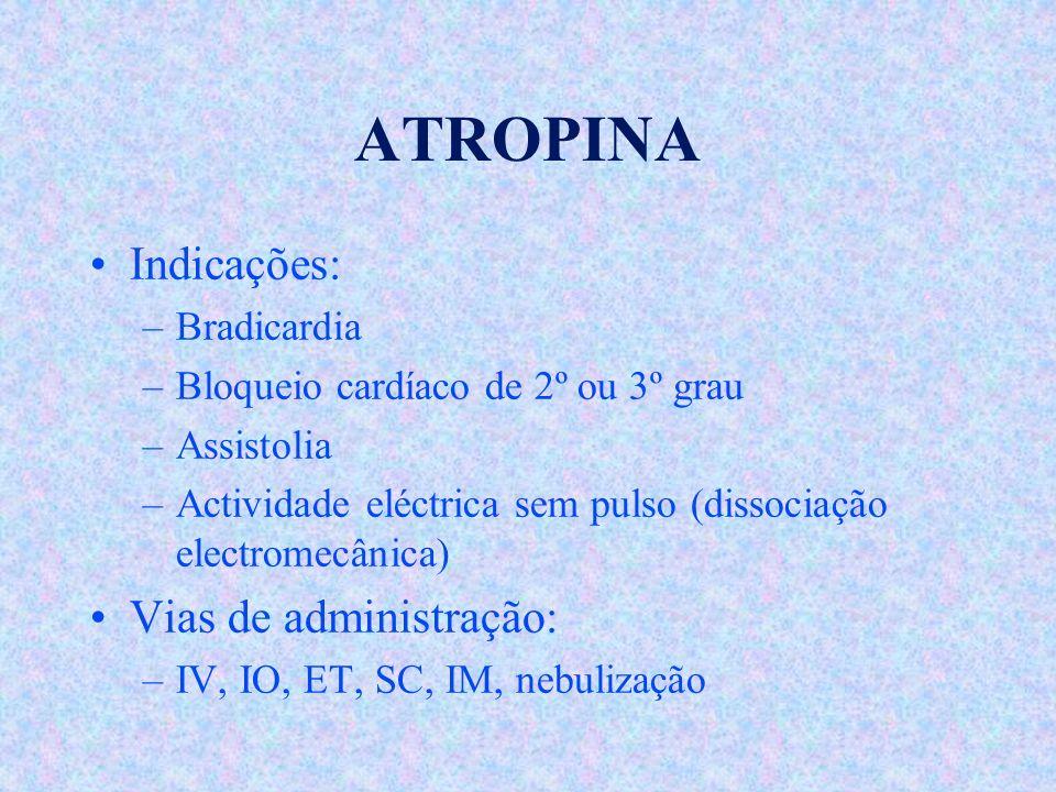 ATROPINA Indicações: Vias de administração: Bradicardia