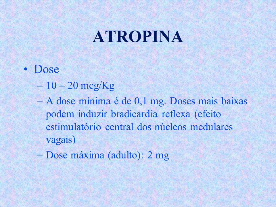 ATROPINA Dose. 10 – 20 mcg/Kg.